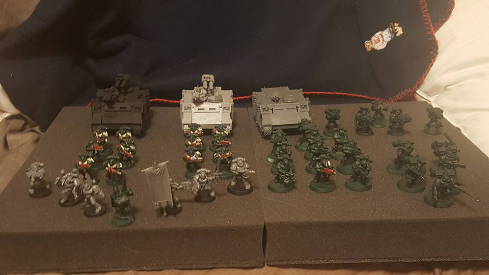 Command squad, 2 Tac squads on the left. Tac, Assault Marines, Dev squad on the right.